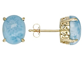 Blue Oval Larimar 10k Yellow Gold Stud Earrings