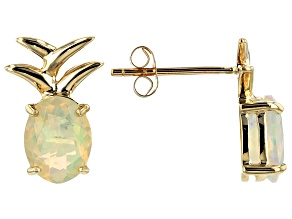 Multi-Color Ethiopian Opal 10k Gold Pineapple Earrings 1.07ctw