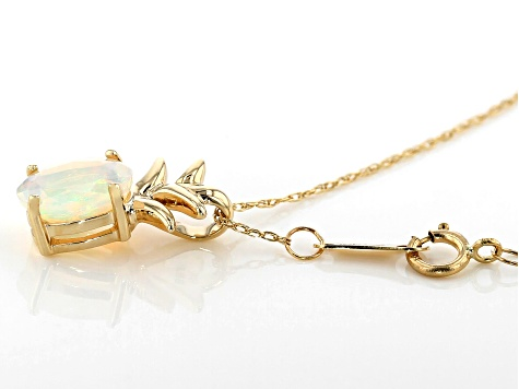 Multi-Color Ethiopian Opal 10k Gold Pineapple Pendant With Chain .54ct