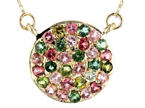 Mixed-Color Tourmaline 10k Yellow Gold Necklace 1.14ctw