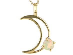 Multi-Color Ethiopian Opal 14k Gold Moon Pendant with Chain .22ct