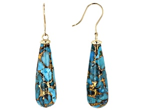 Blue Turquoise 10k Yellow Gold Dangle Earrings