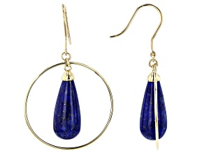 Blue Lapis 10k Yellow Gold Earrings 18x8mm