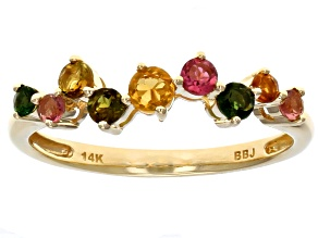 Mixed Color Tourmaline 14k Yellow Gold Ring .45ctw