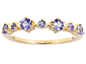 Blue Tanzanite 14k Gold Band Ring .45ctw
