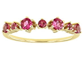 Pink Tourmaline 14k Gold Band Ring .45ctw