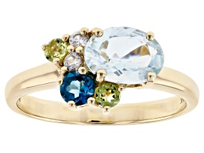 Blue Aquamarine 10k Yellow Gold Ring 1.14ctw