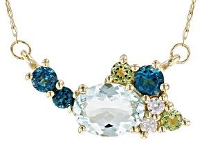Blue Aquamarine 10k Yellow Gold Necklace 1.31ctw