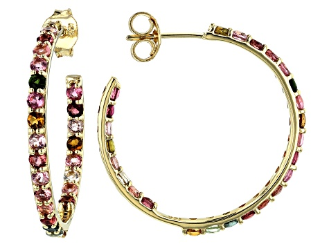 Multi-Tourmaline 10k Gold Inside-Outside Hoop Earrings 1.70ctw