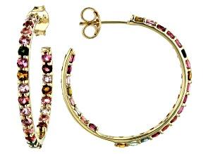 Multi-Tourmaline 10k Gold Inside-Outside Hoop Earrings 1.70ctw
