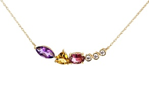Multi-Gem 10k Yellow Gold Necklace 1.15ctw
