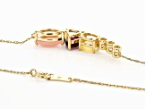 Multi-Gem 10k Yellow Gold Necklace .89ctw