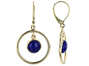 Blue Lapis 10k Yellow Gold Dangle Earrings