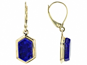 Blue Lapis 10k Yellow Gold Earrings