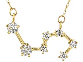 """White Zircon 10k Yellow Gold """"Leo"""" Necklace .54ctw"""