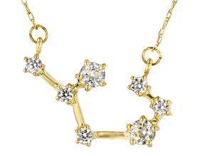 "White Zircon 10k Yellow Gold ""Sagittarius"" Necklace .54ctw"