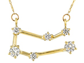 "White Zircon 10k Yellow Gold ""Gemini"" Necklace .49ctw"