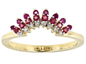 Red Mahaleo® Ruby 10k Yellow Gold Ring 0.31ctw