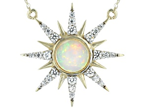 White Ethiopian Opal 10k Yellow Gold Necklace .93ctw