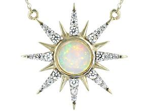 White Ethiopian Opal 10k Yellow Gold Necklace .93ctw