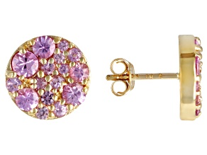 Pink Sapphire 10k Yellow Gold Button Earrings 1.21ctw