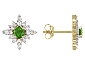 Green Chrome Diopside 14k Yellow Gold Earrings .57ctw