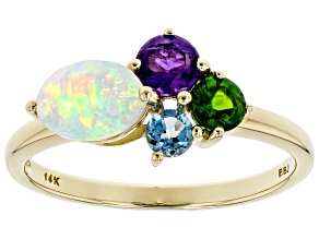Multi Color Ethiopian Opal14k Yellow Gold Ring .87ctw