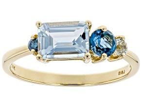 Blue Aquamarine 14k Yellow Gold Ring 1.07ctw