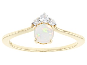 Multi Color Ethiopian Opal 14k Yellow Gold Ring