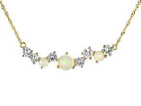 Multi Color Ethiopian Opal 10k Yellow Gold Necklace 2.62ctw