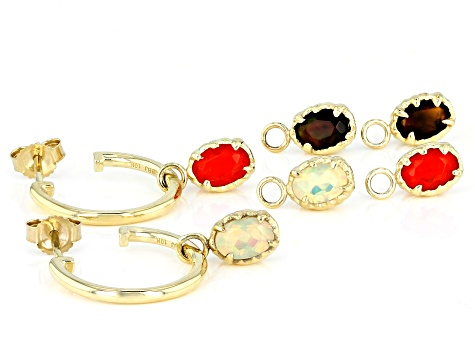 Mixed Ethiopian Opal, 10k Gold Hoop Earrings & 3 Sets of Interchangeable Opal Charms 1.26ctw