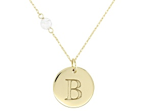 White Zircon Bead 10k Yellow Gold Initial B Pendant With Chain .58ct