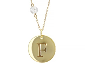 """White Zircon Bead 10k Yellow Gold """"F"""" Initial Pendant With Chain 0.58ct"""