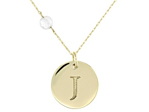 White Zircon Bead 10K Yellow Gold Initial J Pendant With Chain 0.58ct