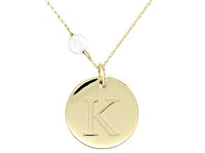 White Zircon Bead 10k Yellow Gold Initial K Pendant With Chain .58ct