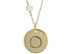 "White Zircon Bead 10k Yellow Gold ""O"" Initial Pendant With Chain 0.58ct"