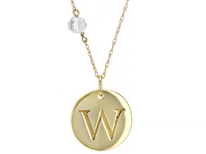 """White Zircon Bead 10k Yellow Gold """"W"""" Initial Pendant With Chain 0.58ct"""
