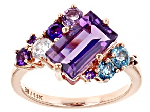 Purple Amethyst, Blue Topaz, and White Zircon 14k Rose Gold Ring 3.04ctw