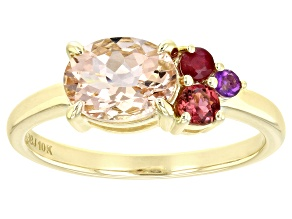 Pink Morganite 10k Yellow Gold Ring 1.15ctw