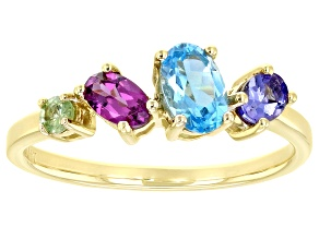 Mixed Gemstone 14k Yellow Gold Ring .94ctw