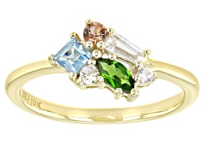Mixed Gemstone 10k Yellow Gold Cluster Ring .56ctw