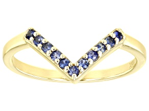 Blue Sapphire 10k Yellow Gold Chevron Band Ring .16ctw