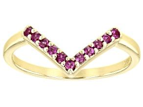 Purple Rhodolite Garnet 10k Yellow Gold Chevron Band Ring .22ctw