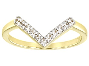 White Zircon, 10k Yellow Gold Chevron Band Ring  .19ctw