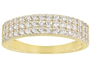 White Zircon 10k Yellow Gold Band Ring 0.86ctw