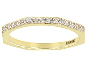 White Zircon 10k Yellow Gold Octagon Band Ring 0.30ctw