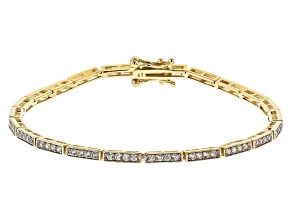 White Zircon 10k Yellow Gold Line Bracelet 1.75ctw