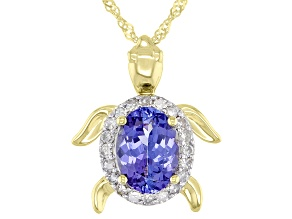 Blue Tanzanite 10k Yellow Gold Turtle Pendant With Chain 1.25ctw