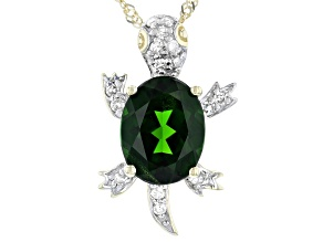 Green Chrome Diopside 10k Gold Pendant With Chain 1.90ctw