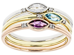 Swiss Blue Topaz, Rhodolite Garnet, White Zircon, And Diamond 10k Gold Ring Set Of 3 0.44ctw